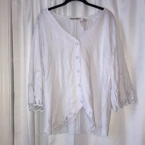 Soft Surroundings White Button Up Blouse